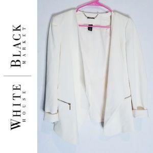 White House Black Market Creme Blazer Sz 4 WHBM